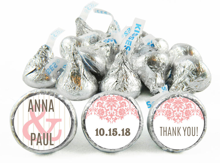 Thank You Paisley Wedding Labels for Hershey's Kisses