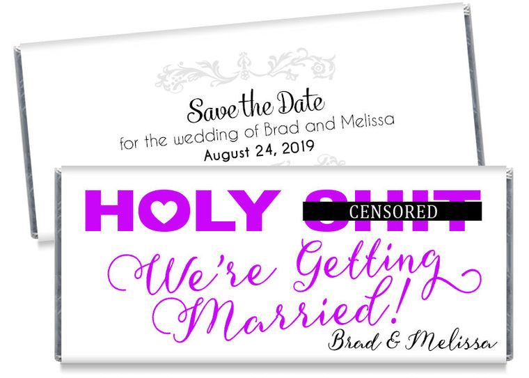 Holy Bleep! Save the Date Wedding Candy Bar Wrappers
