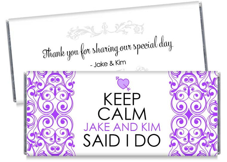 Keep Calm Wedding Candy Bar Wrappers
