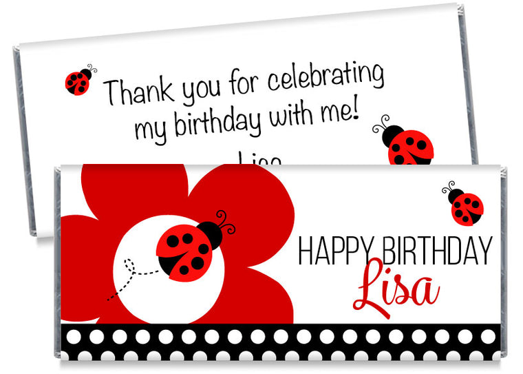A Fancy Ladybug Party Girl Birthday Candy Bar Wrappers