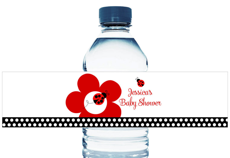 Lady Bug Dots Personalized Girl Baby Shower Water Bottle Labels