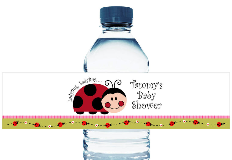 Lady Bug Lady Bug Personalized Girl Baby Shower Water Bottle Labels