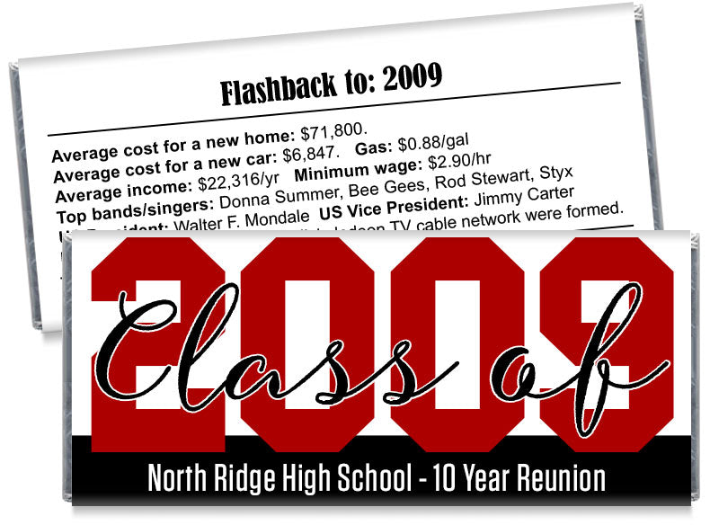 Large Year School Reunion Candy Bar Wrappers