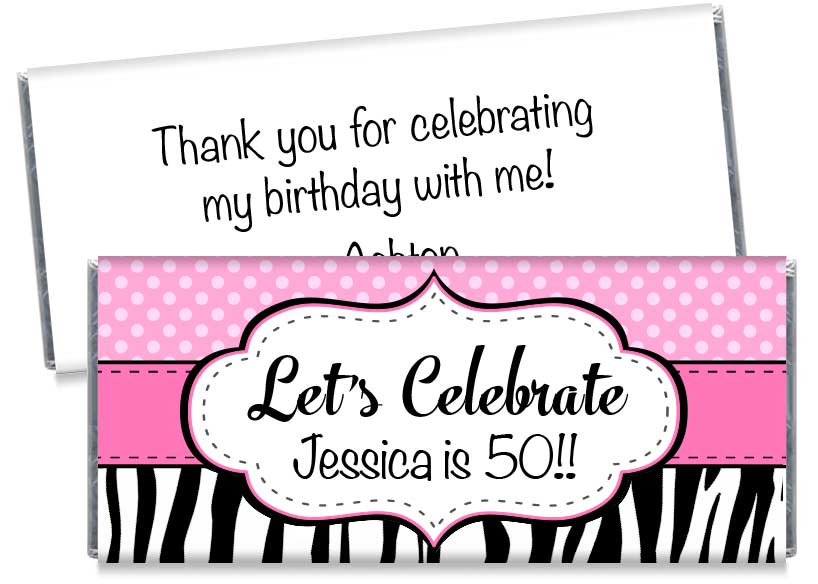 Let's Celebrate Adult Birthday Party Candy Bar Wrappers