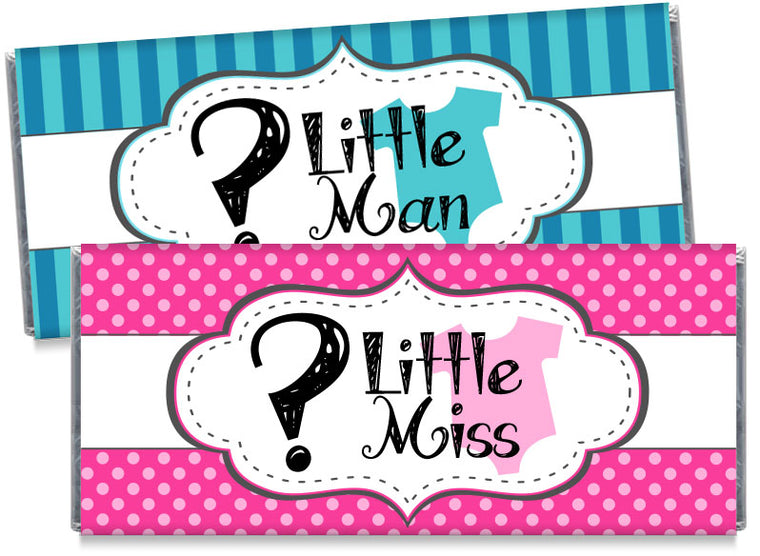 Little Miss Little Man Gender Reveal Candy Bar Wrappers