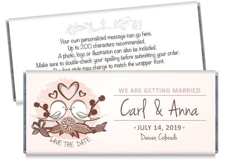 Love Birds Save the Date Wedding Candy Bar Wrappers