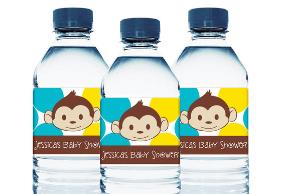 Mod Monkey Personalized Boy Baby Shower Water Bottle Sticker Labels