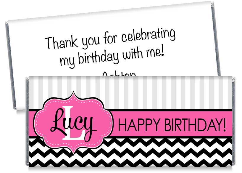 Monogram Pink Birthday Party Candy Bar Wrappers