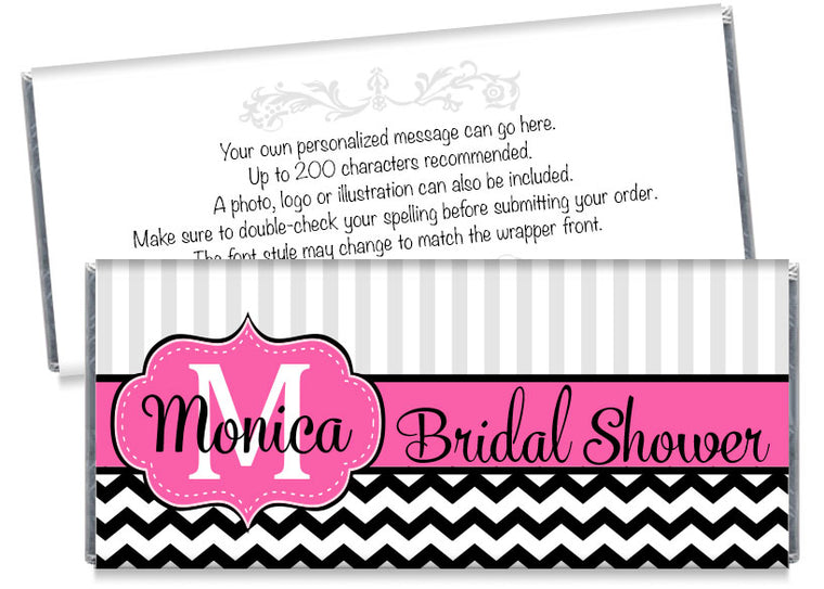 Monogram Bridal Shower Candy Bar Wrappers