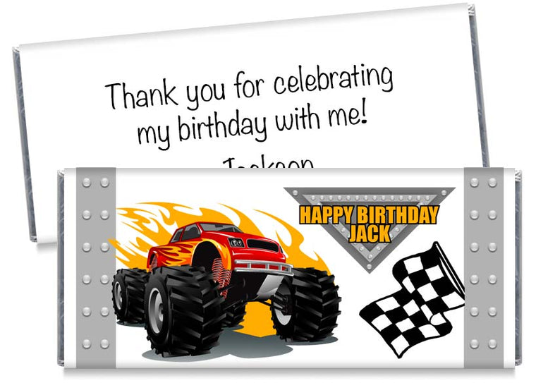 Monster Truck Boy Birthday Party Candy Bar Wrappers