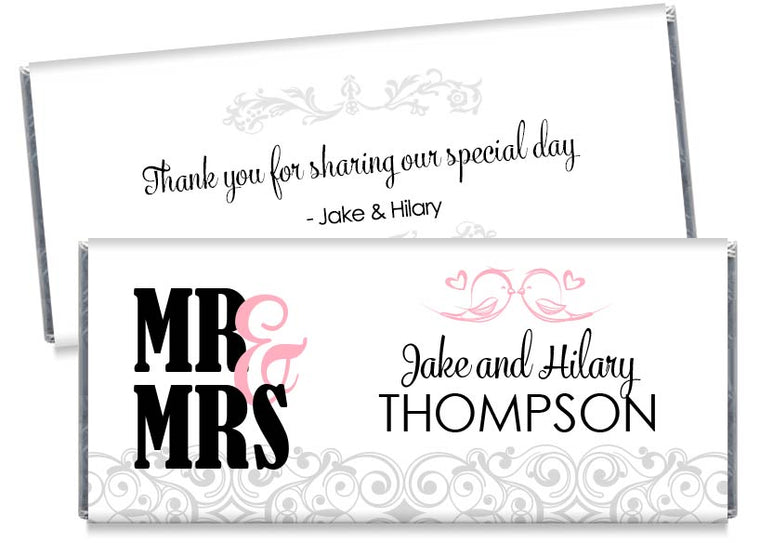 Mr and Mrs Love Birds Wedding Candy Bar Wrappers