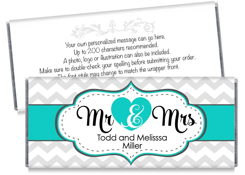 Green Mr and Mrs Heart Wedding Candy Bar Wrappers