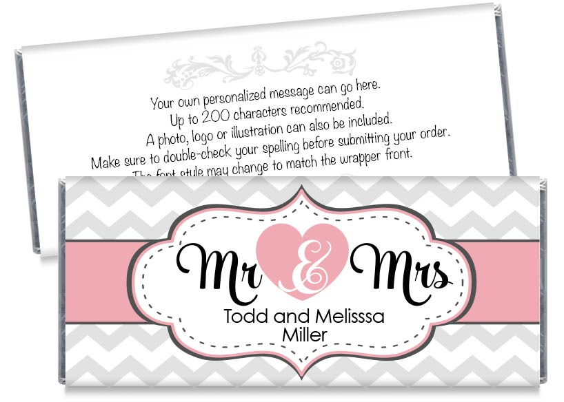 Pink Mr and Mrs Heart Wedding Candy Bar Wrappers
