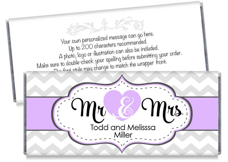 Purple Mr and Mrs Heart Wedding Candy Bar Wrappers