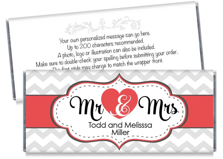 Red Mr and Mrs Heart Wedding Candy Bar Wrappers