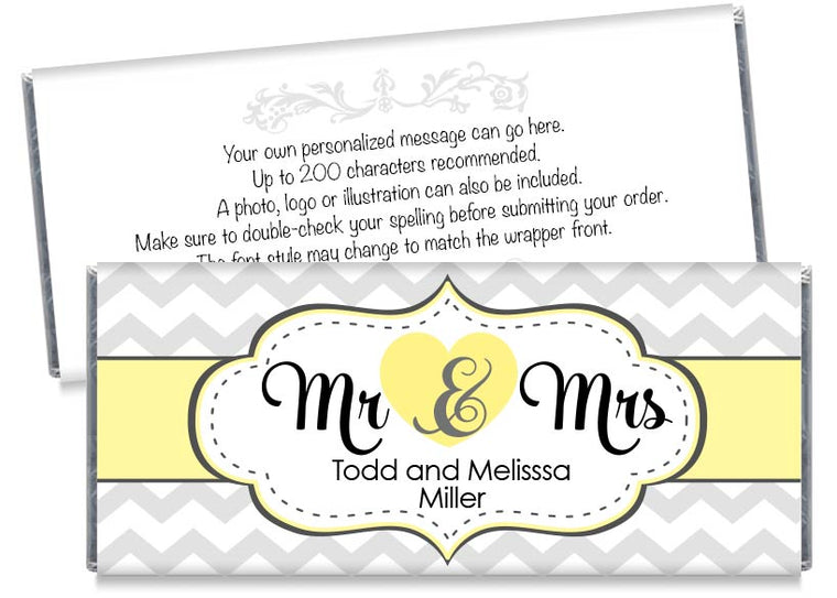 Yellow Mr and Mrs Heart Wedding Candy Bar Wrappers