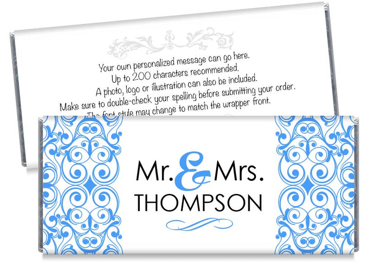 Blue Mr and Mrs Floral Illustration Wedding Candy Bar Wrappers