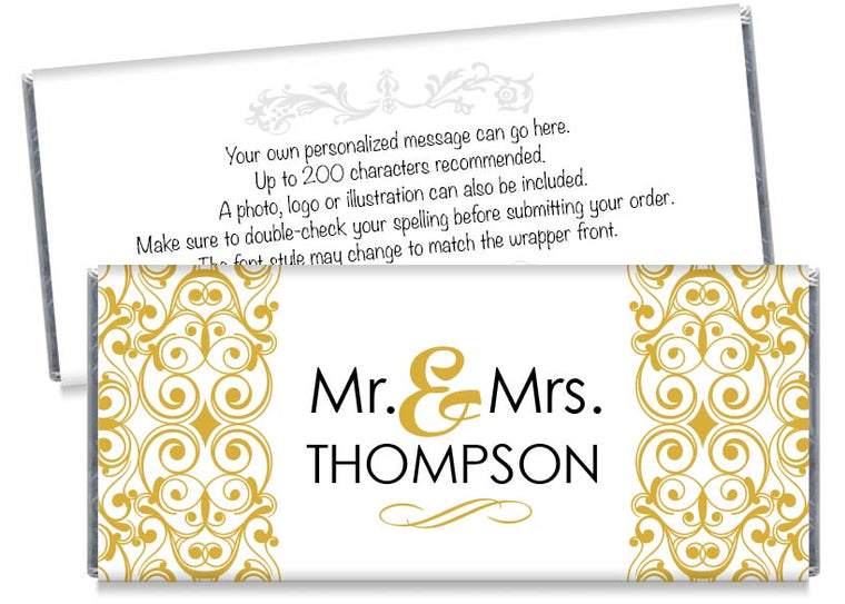 Mr and Mrs Floral Illustration Wedding Candy Bar Wrappers