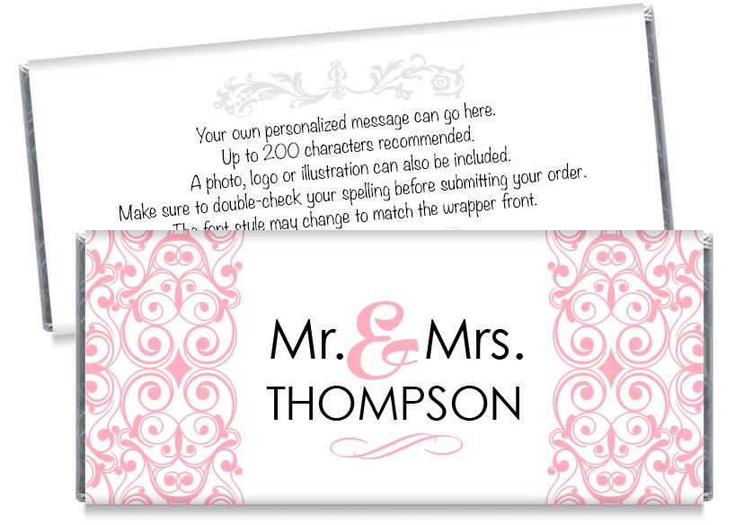 Silver Mr and Mrs Floral Illustration Wedding Candy Bar Wrappers