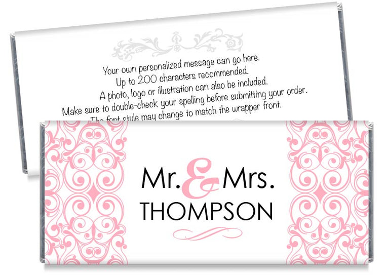 Pink Mr and Mrs Floral Illustration Wedding Candy Bar Wrappers