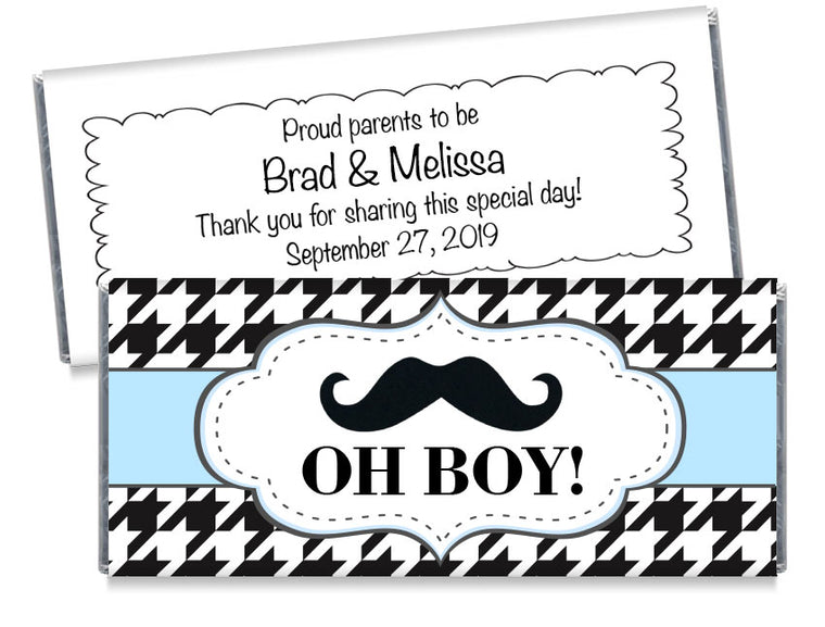 Mustache Oh Boy Boy Baby Shower Candy Bar Wrappers