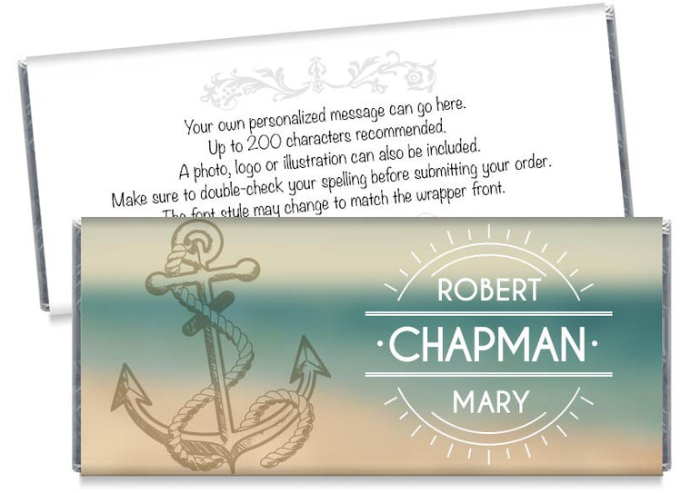 Nautical Anchor Wedding Candy Bar Wrappers