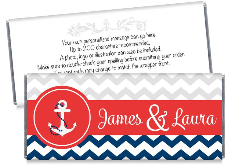Nautical Blue and Red Wedding Candy Bar Wrappers
