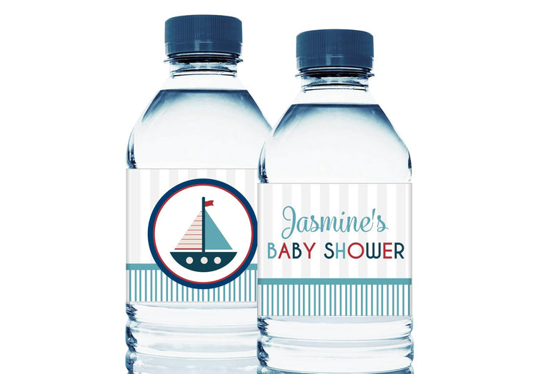 Nautical Boat Personalized Boy Baby Shower Water Bottle Sticker Labels
