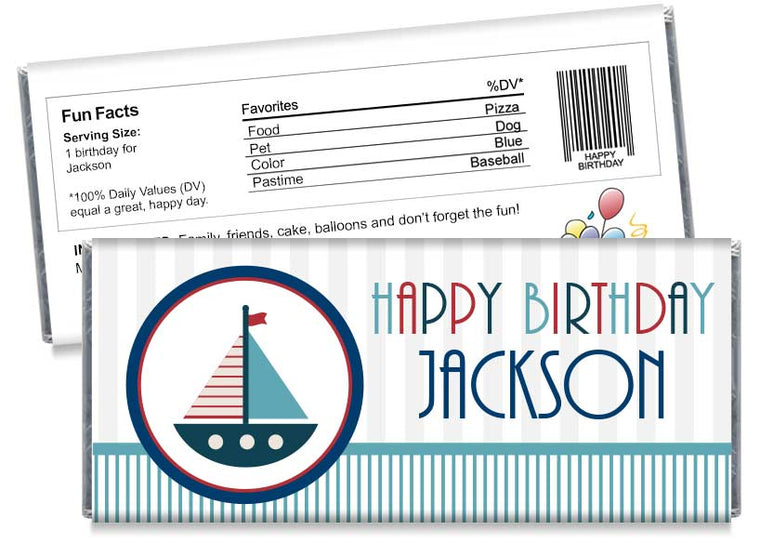 Nautical Sail Boat Boy Birthday Party Candy Bar Wrappers