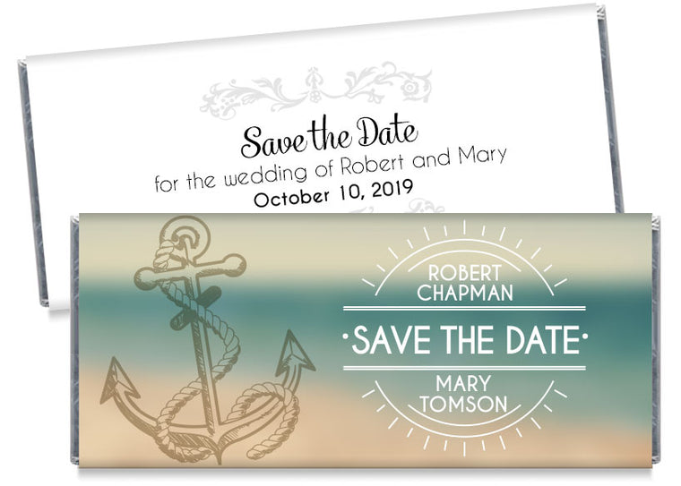 Nautical Save the Date Wedding Candy Bar Wrappers