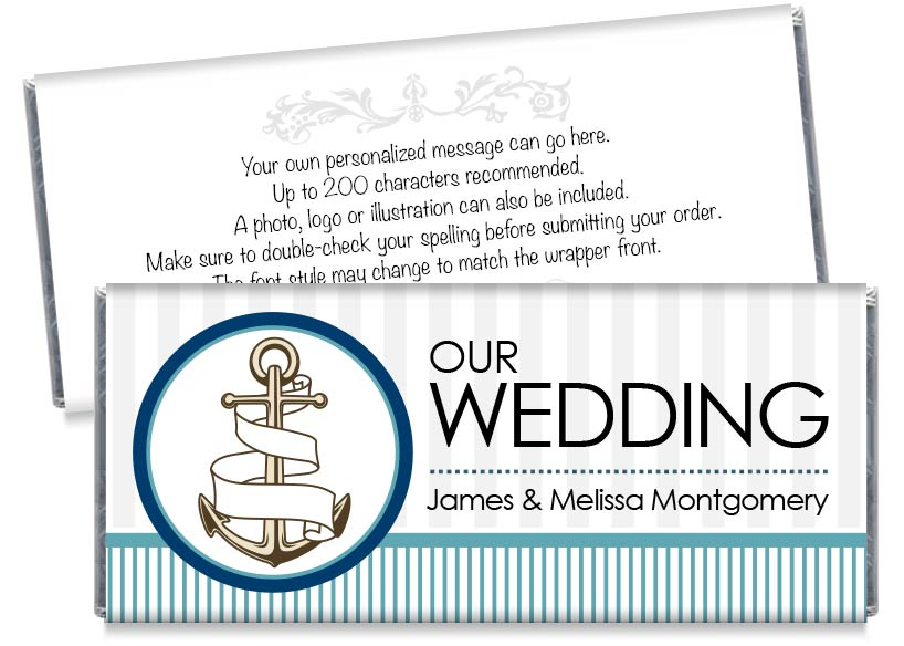 Nautical Stripes Wedding Candy Bar Wrappers
