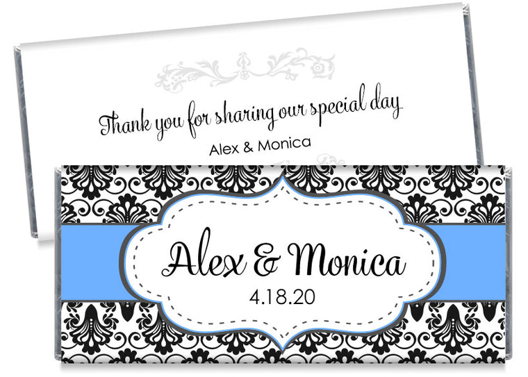 Black Paisley with Blue Banner Wedding Candy Bar Wrappers