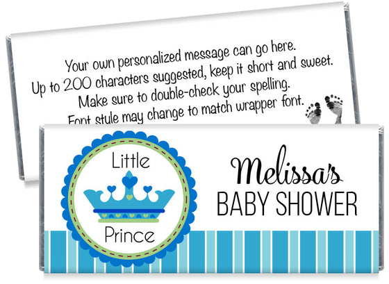 A New Little Prince Boy Baby Shower Candy Bar Wrappers