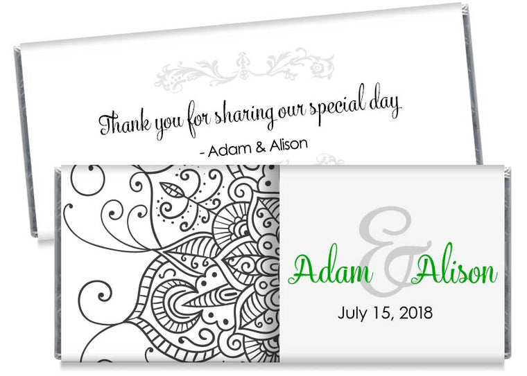 Green Ornament Illustration Wedding Candy Bar Wrappers
