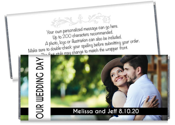 Large Our Wedding Day Photo Wedding Candy Bar Wrappers