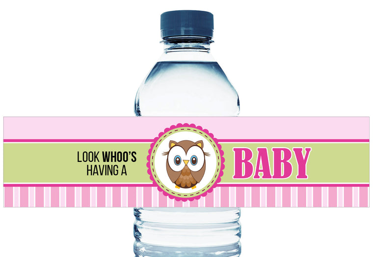 Owl Stripes Personalized Girl Baby Shower Water Bottle Labels