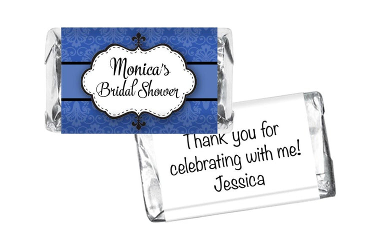 Blue Paisley Bridal Shower Mini Bar Wrappers