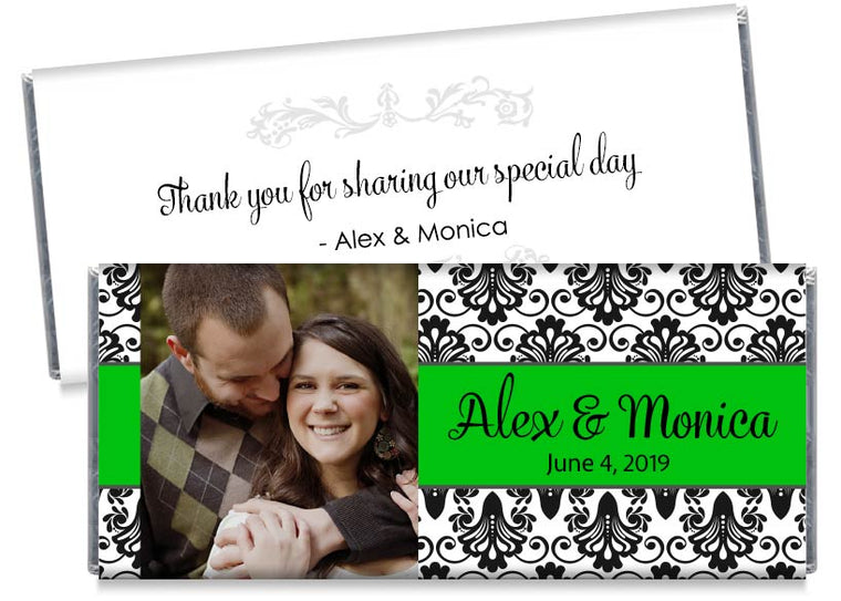 Green with Black Paisley with Photo Wedding Candy Bar Wrappers