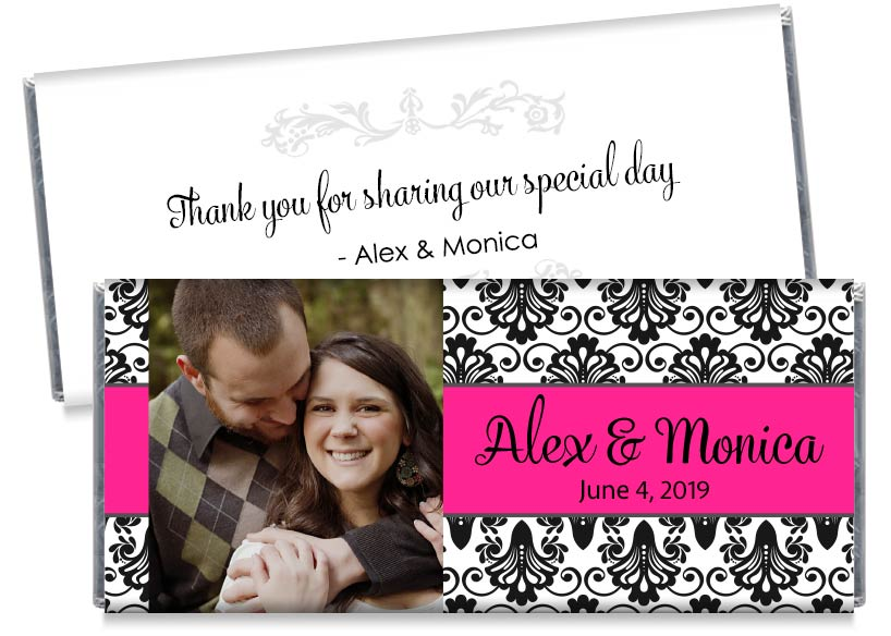Pink with Black Paisley with Photo Wedding Candy Bar Wrappers