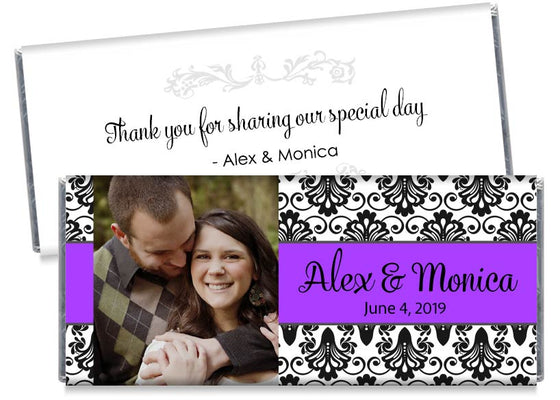 Purple with Black Paisley with Photo Wedding Candy Bar Wrappers