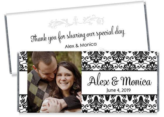 Black and White Paisley with Photo Wedding Candy Bar Wrappers