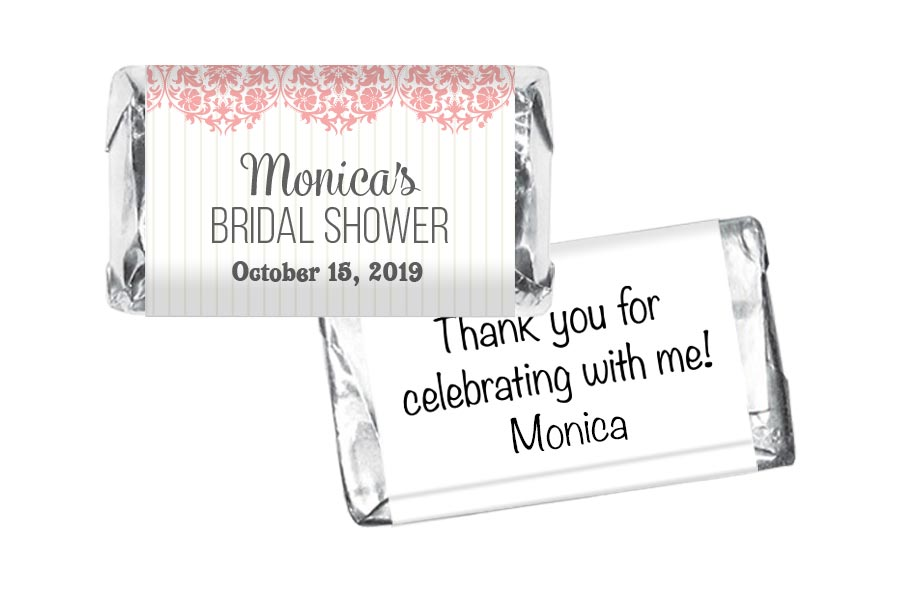 Paisley Pink Bridal Shower Mini Bar Wrappers