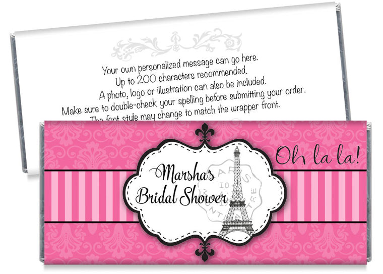 Pink Paris Bridal Shower Candy Bar Wrappers