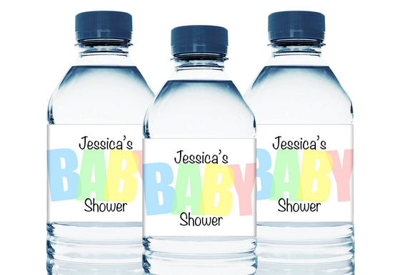 Pastel Baby Personalized Baby Shower Water Bottle Sticker Labels
