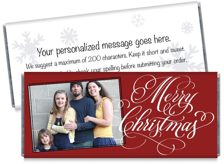 Merry Christmas Script with Photo Candy Bar Wrappers