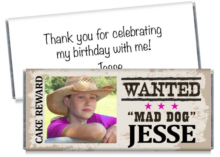 Photo Cowgirl Birthday Party Candy Bar Wrappers