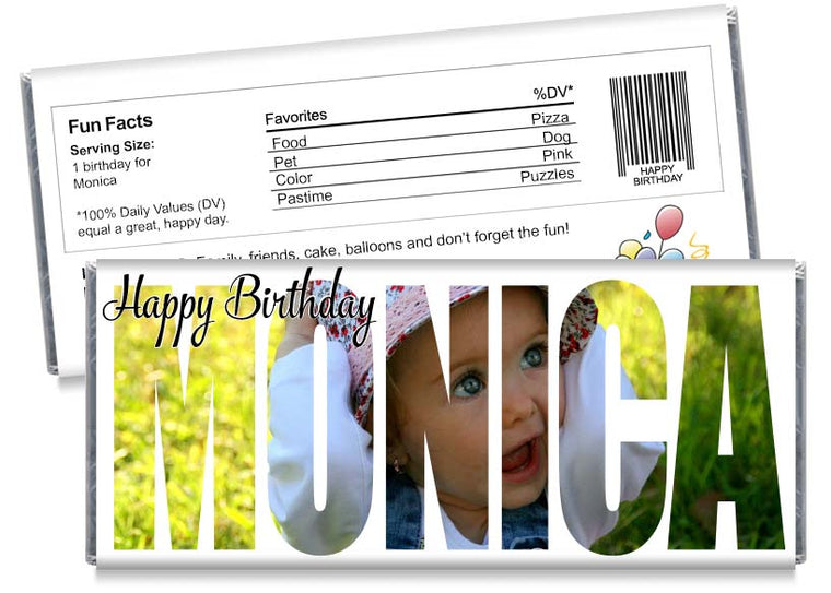 Photo Name Cutout Birthday Party Candy Bar Wrappers