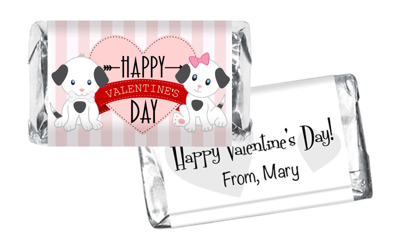 Pink Dog Stripes Valentine's Day Mini Bar Wrappers