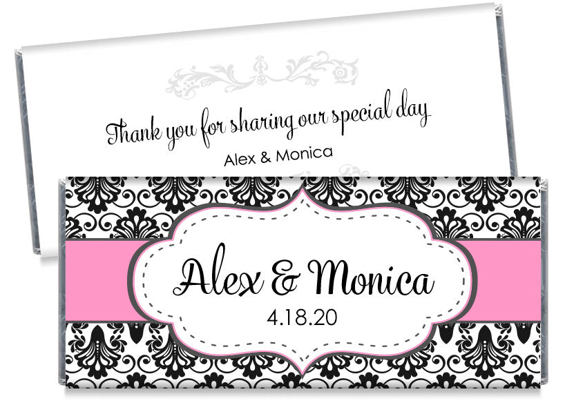 Black Paisley with Pink Banner Wedding Candy Bar Wrappers