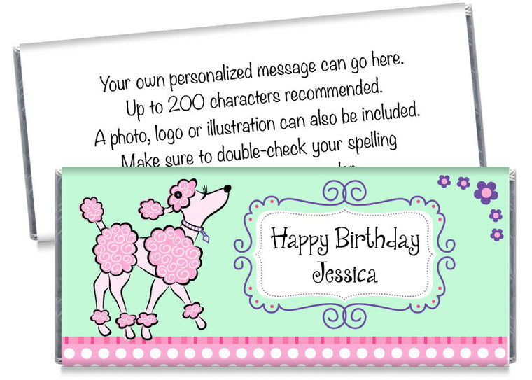 Pink Poodle Girl Birthday Candy Bar Wrappers